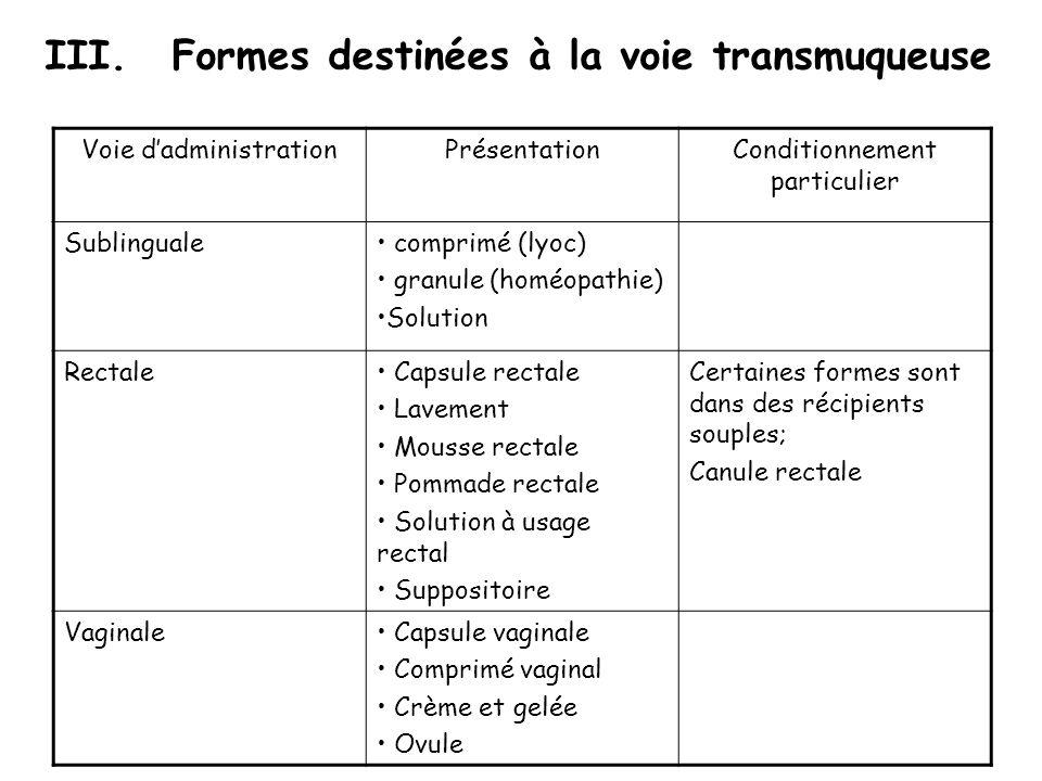 Formes destinées à la voie transmuqueuse