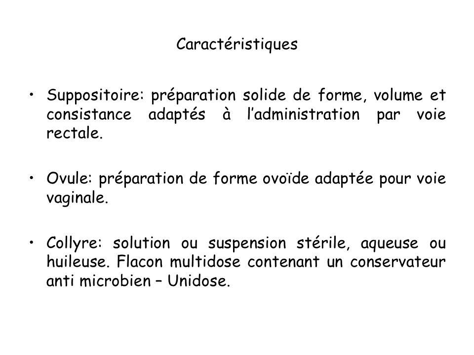 Caractéristiques Suppositoire: préparation solide de forme, volume et consistance adaptés à l'administration par voie rectale.