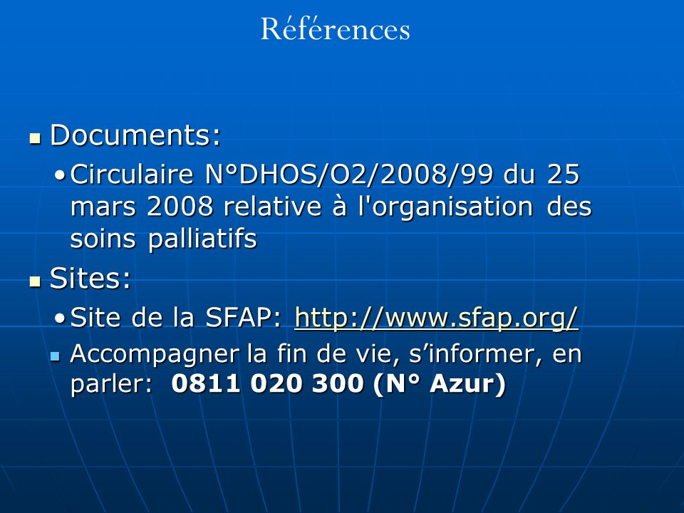 Références Documents: Sites: