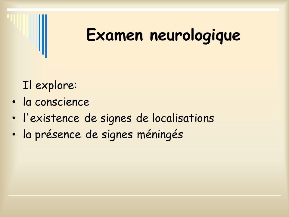 Examen neurologique Il explore: la conscience