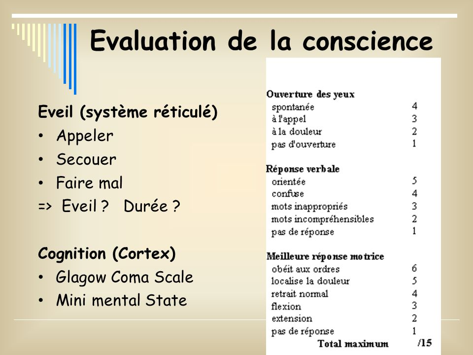 Evaluation de la conscience