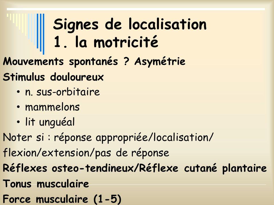Signes de localisation 1. la motricité