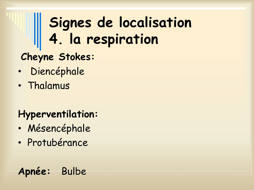 Signes de localisation 4. la respiration