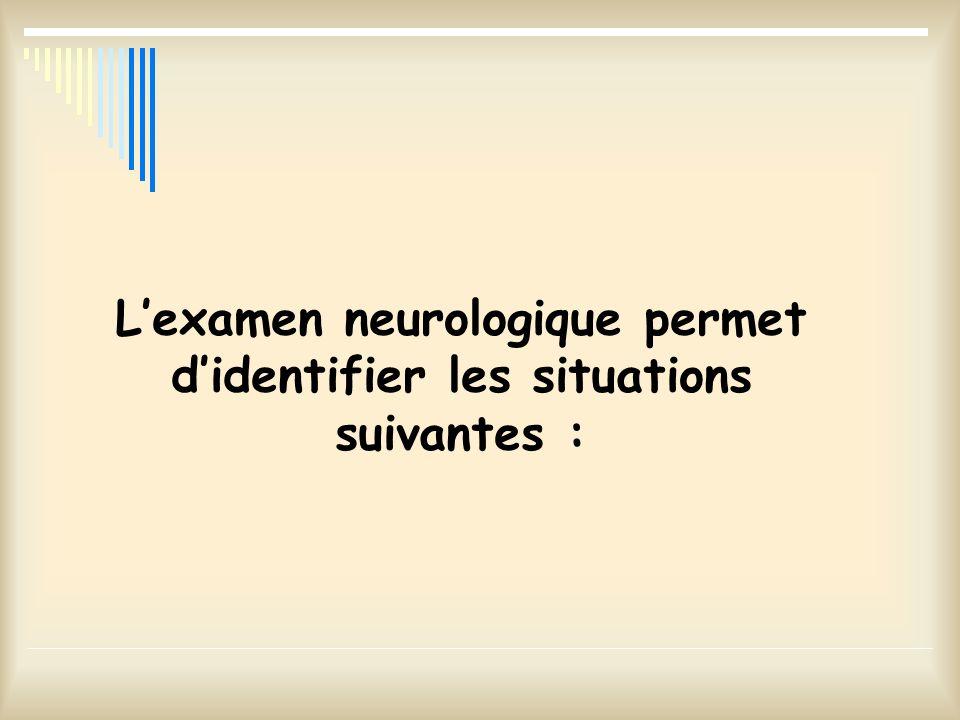 L'examen neurologique permet d'identifier les situations suivantes :