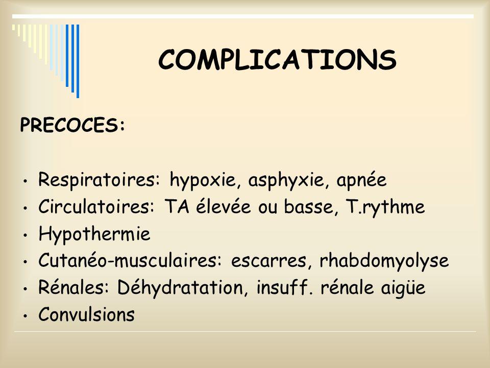 COMPLICATIONS PRECOCES: Respiratoires: hypoxie, asphyxie, apnée