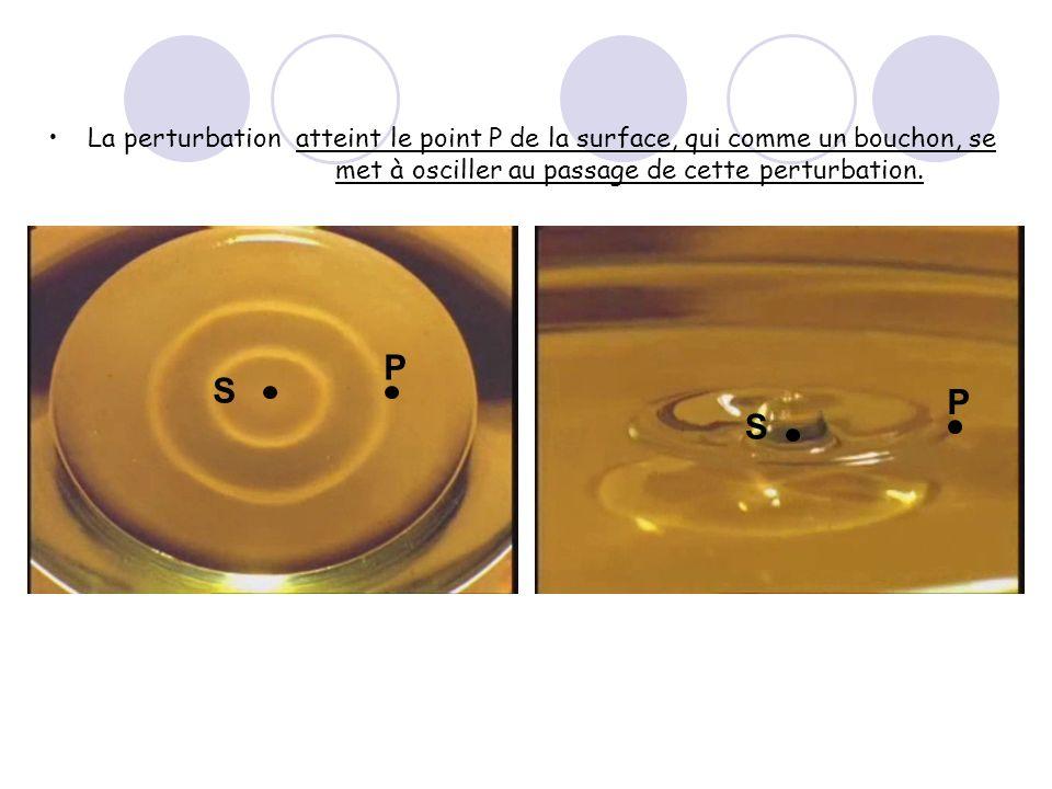 La perturbation atteint le point P de la surface, qui comme un bouchon, se met à osciller au passage de cette perturbation.