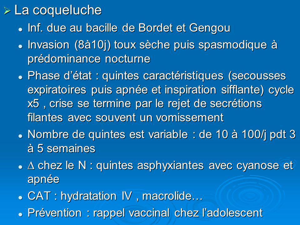 La coqueluche Inf. due au bacille de Bordet et Gengou
