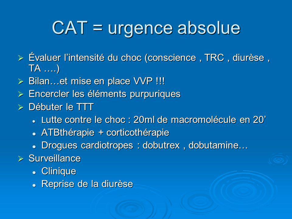 CAT = urgence absolue Évaluer l'intensité du choc (conscience , TRC , diurèse , TA ….) Bilan…et mise en place VVP !!!
