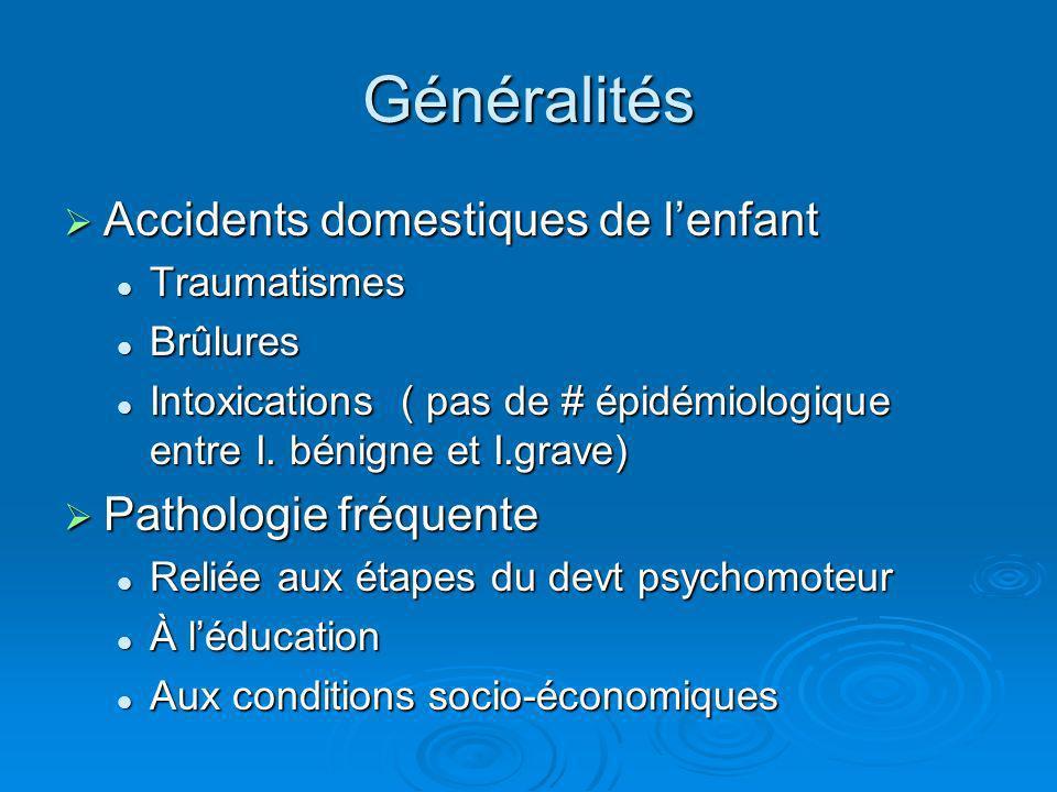 Généralités Accidents domestiques de l'enfant Pathologie fréquente
