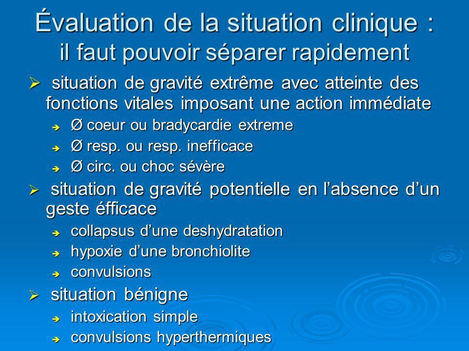 Évaluation de la situation clinique : il faut pouvoir séparer rapidement