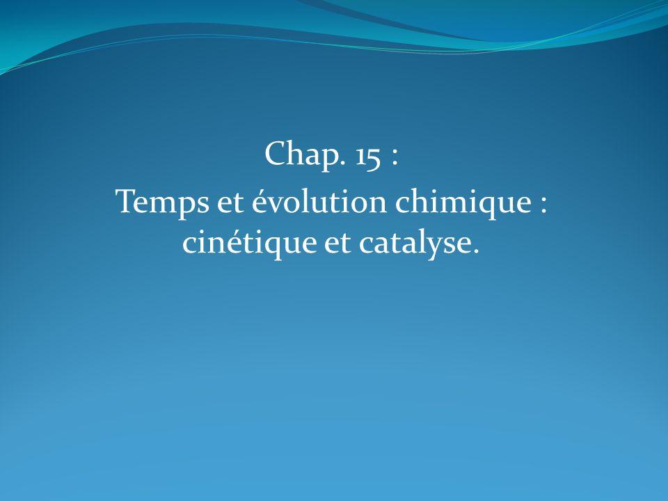 Chap. 15 : Temps et évolution chimique : cinétique et catalyse.