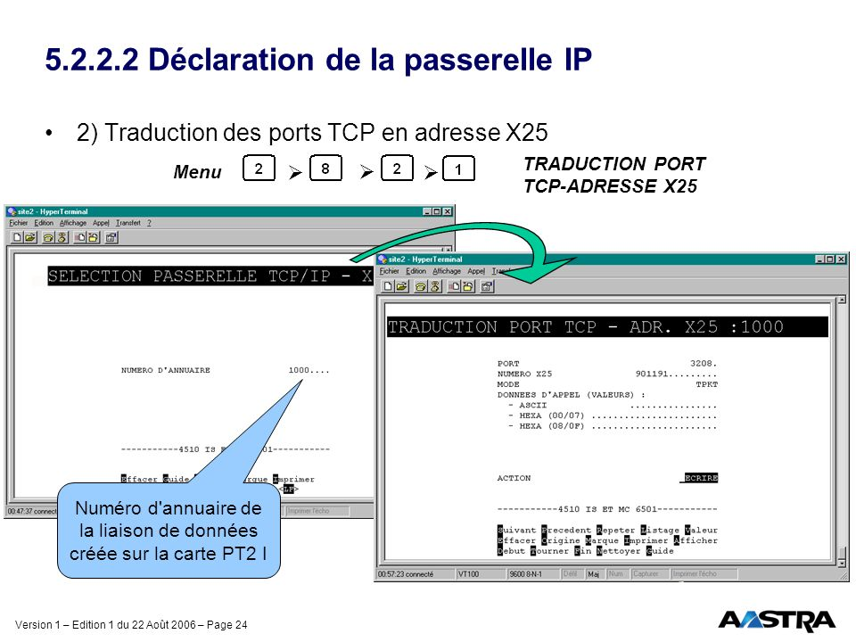 5.2.2.2 Déclaration de la passerelle IP