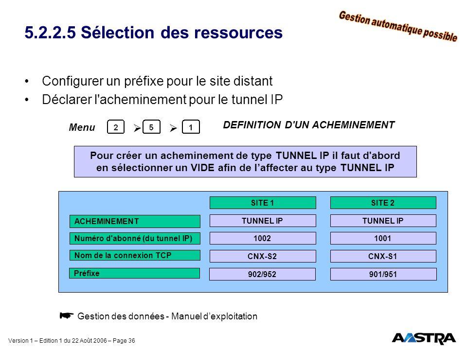 5.2.2.5 Sélection des ressources