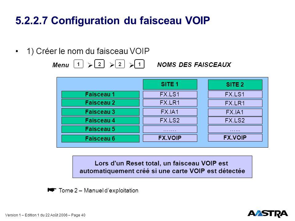 5.2.2.7 Configuration du faisceau VOIP