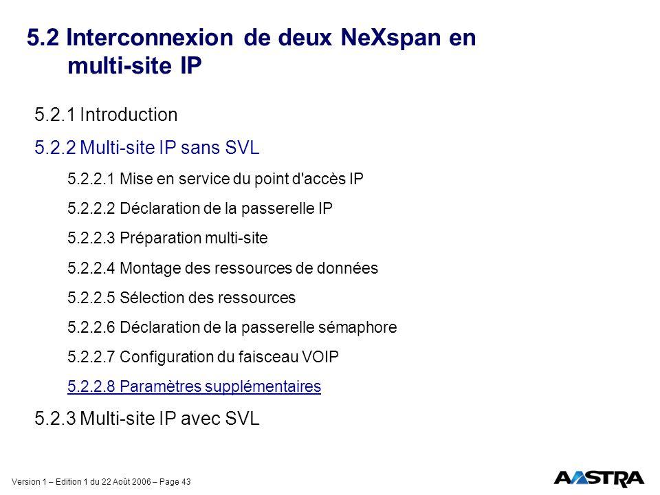 5.2 Interconnexion de deux NeXspan en multi-site IP
