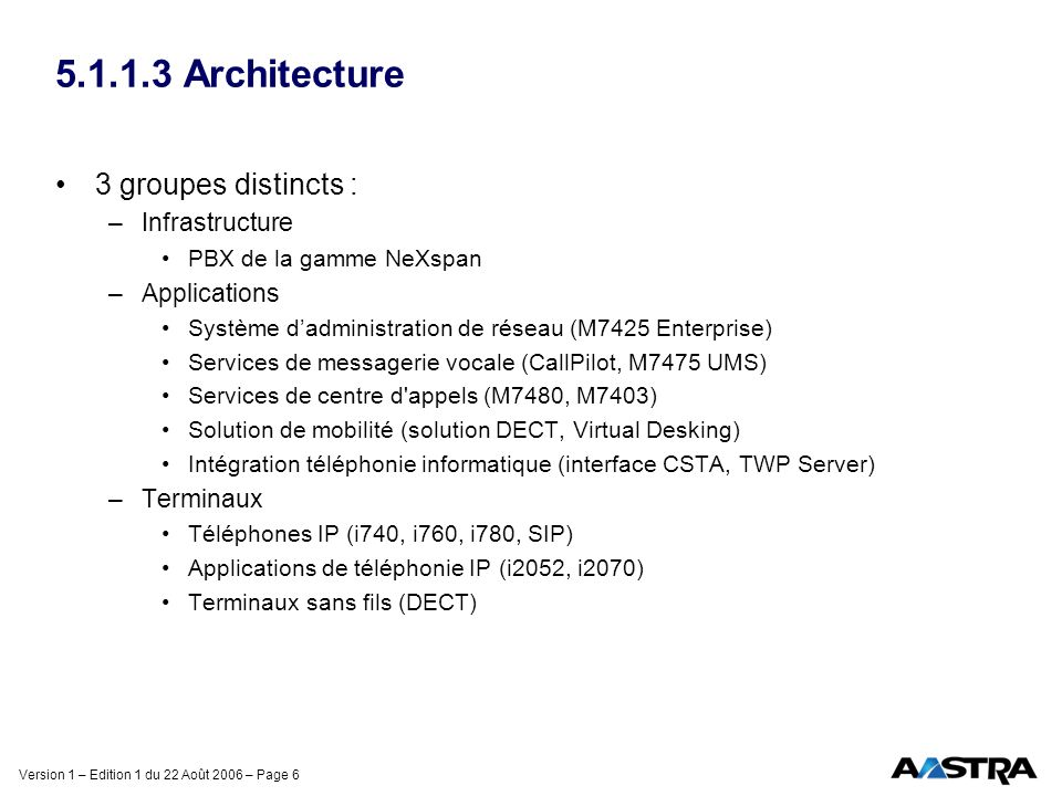 5.1.1.3 Architecture 3 groupes distincts : Infrastructure Applications