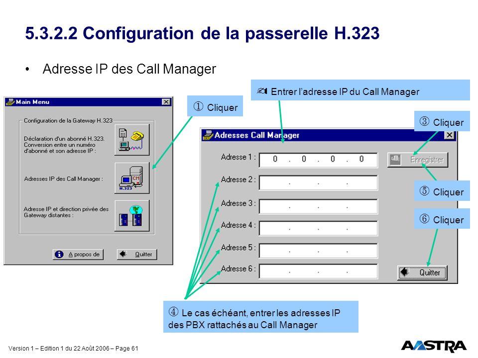 5.3.2.2 Configuration de la passerelle H.323