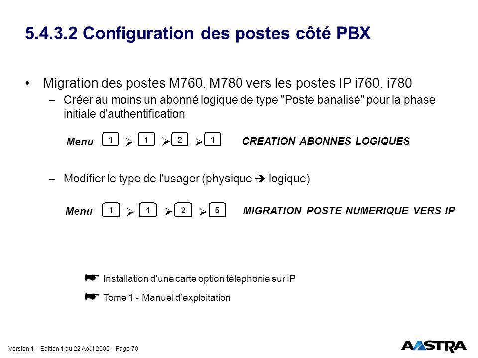 5.4.3.2 Configuration des postes côté PBX