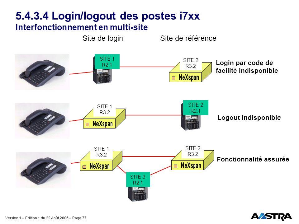 5.4.3.4 Login/logout des postes i7xx Interfonctionnement en multi-site