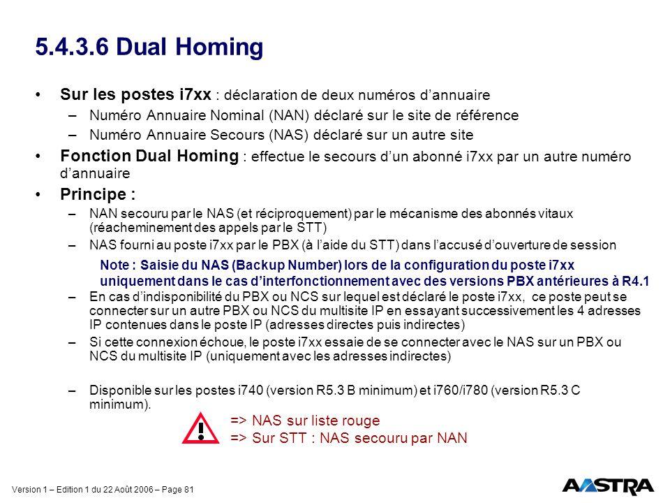 5.4.3.6 Dual Homing Sur les postes i7xx : déclaration de deux numéros d'annuaire. Numéro Annuaire Nominal (NAN) déclaré sur le site de référence.