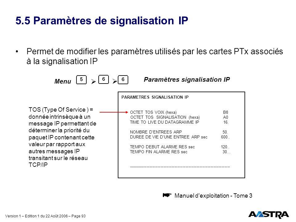 5.5 Paramètres de signalisation IP