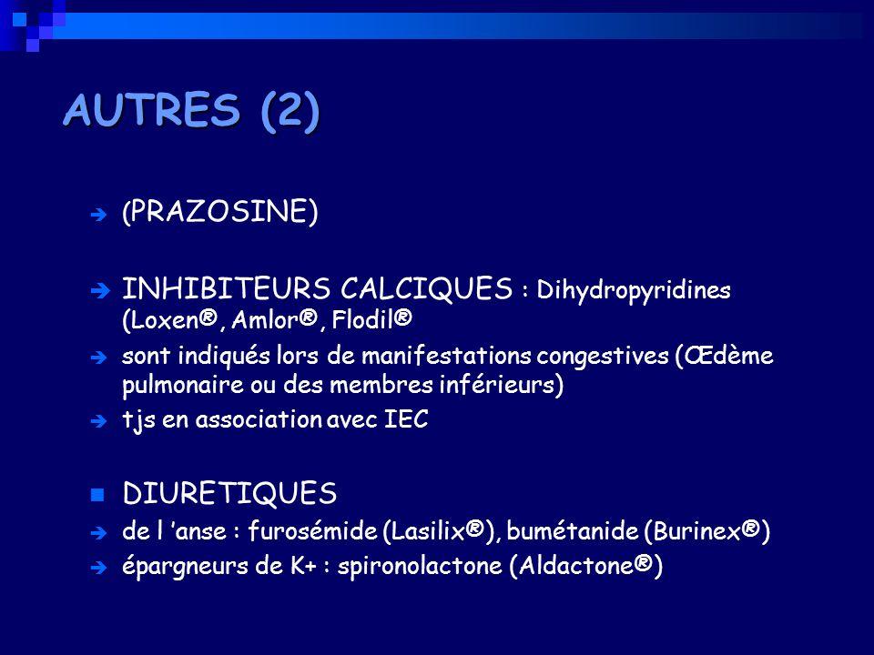 AUTRES (2) (PRAZOSINE) INHIBITEURS CALCIQUES : Dihydropyridines (Loxen®, Amlor®, Flodil®