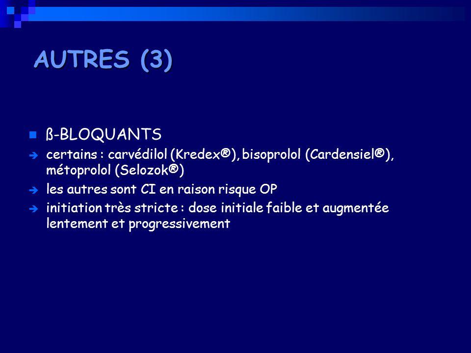 AUTRES (3)ß-BLOQUANTS. certains : carvédilol (Kredex®), bisoprolol (Cardensiel®), métoprolol (Selozok®)
