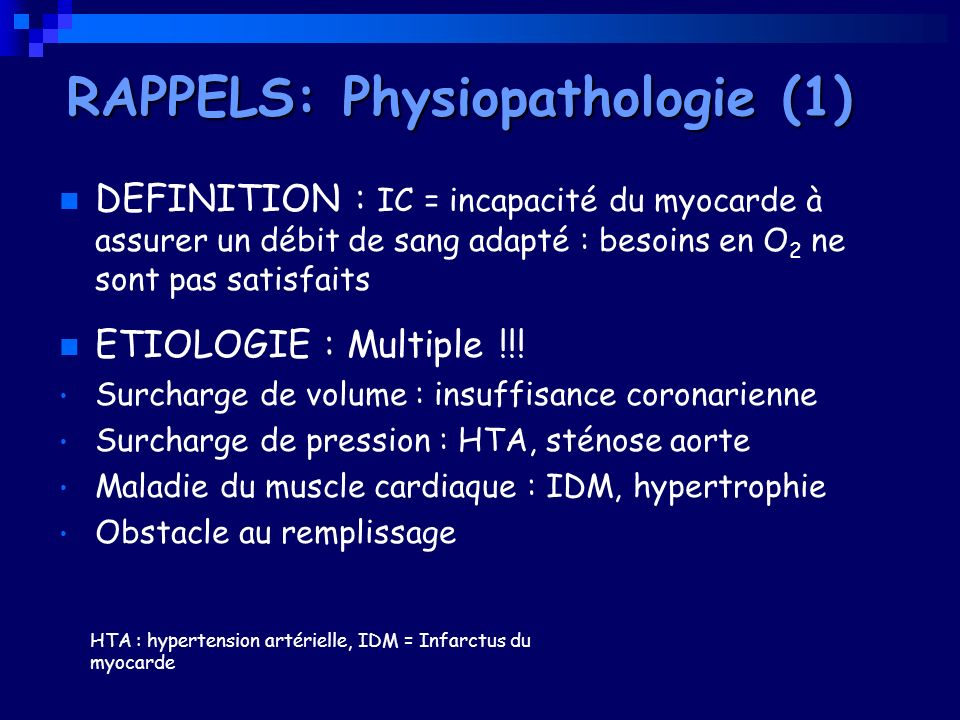 RAPPELS: Physiopathologie (1)
