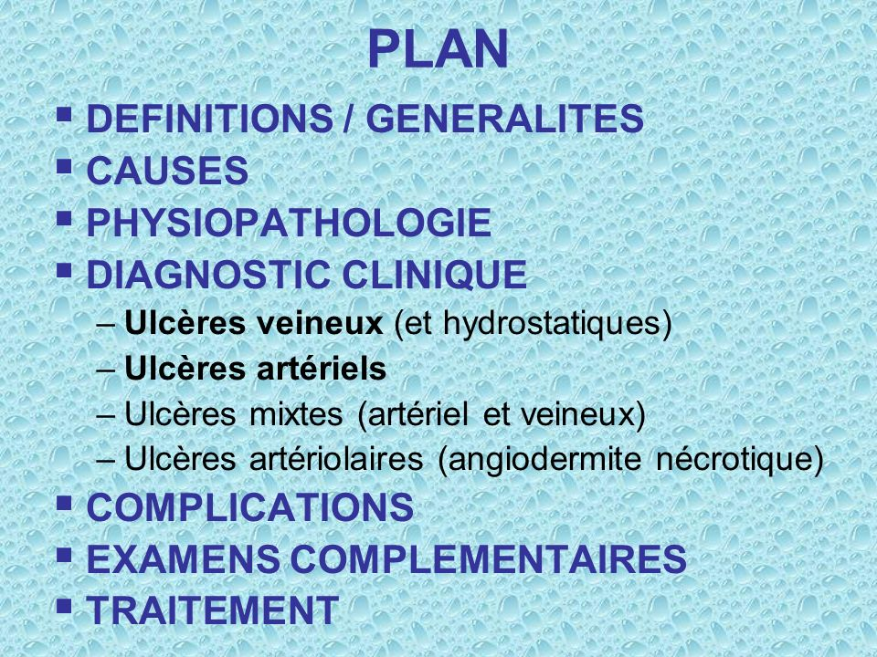 PLAN DEFINITIONS / GENERALITES CAUSES PHYSIOPATHOLOGIE