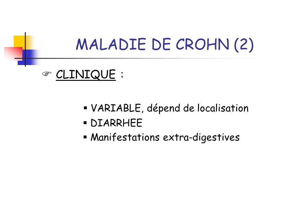 MALADIE DE CROHN (2)  CLINIQUE :  VARIABLE, dépend de localisation