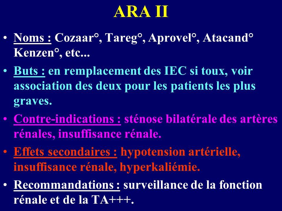 ARA II Noms : Cozaar°, Tareg°, Aprovel°, Atacand° Kenzen°, etc...
