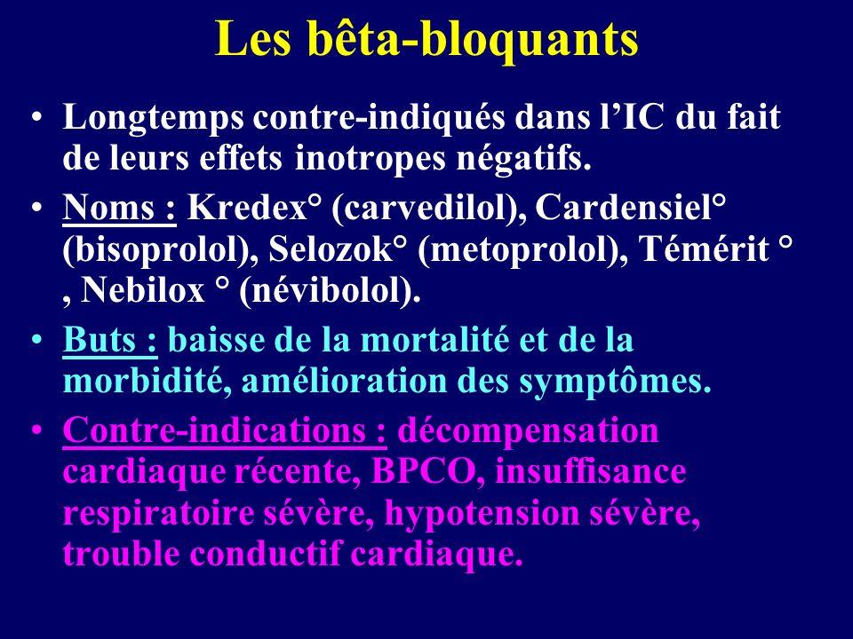 Les bêta-bloquants Longtemps contre-indiqués dans l'IC du fait de leurs effets inotropes négatifs.