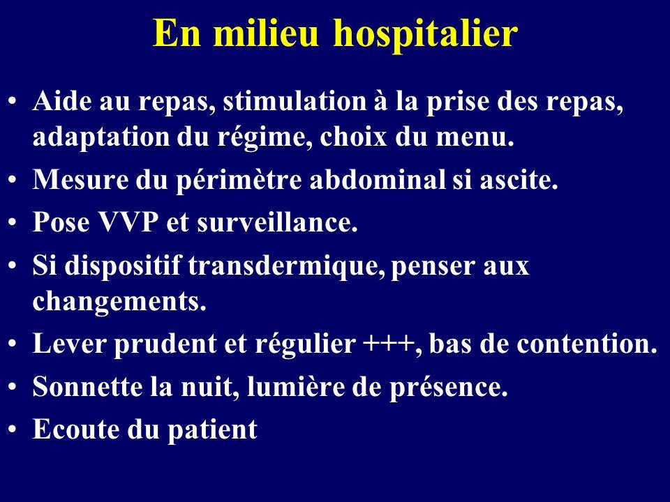 En milieu hospitalier Aide au repas, stimulation à la prise des repas, adaptation du régime, choix du menu.