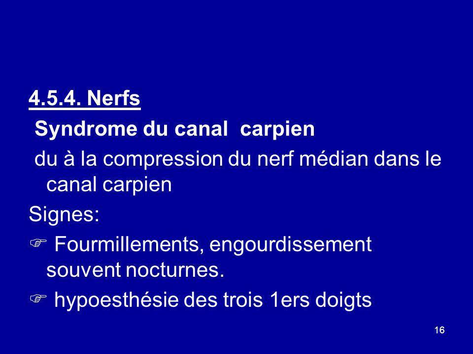4.5.4. NerfsSyndrome du canal carpien. du à la compression du nerf médian dans le canal carpien. Signes: