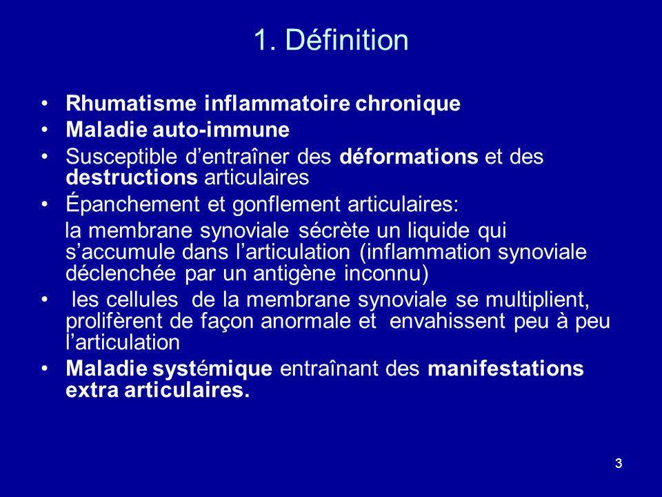 1. Définition Rhumatisme inflammatoire chronique Maladie auto-immune