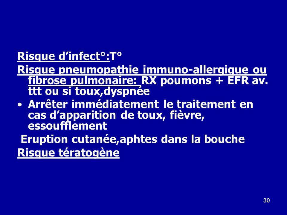 Risque d'infect°:T° Risque pneumopathie immuno-allergique ou fibrose pulmonaire: RX poumons + EFR av. ttt ou si toux,dyspnée.