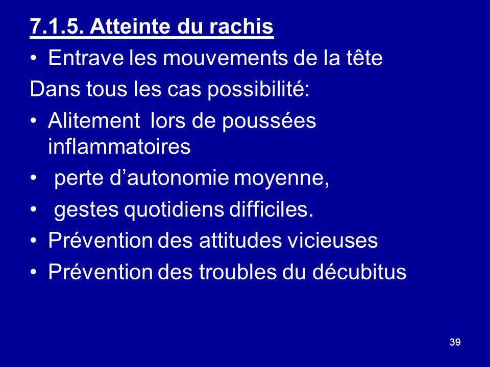 7.1.5. Atteinte du rachisEntrave les mouvements de la tête. Dans tous les cas possibilité: Alitement lors de poussées inflammatoires.
