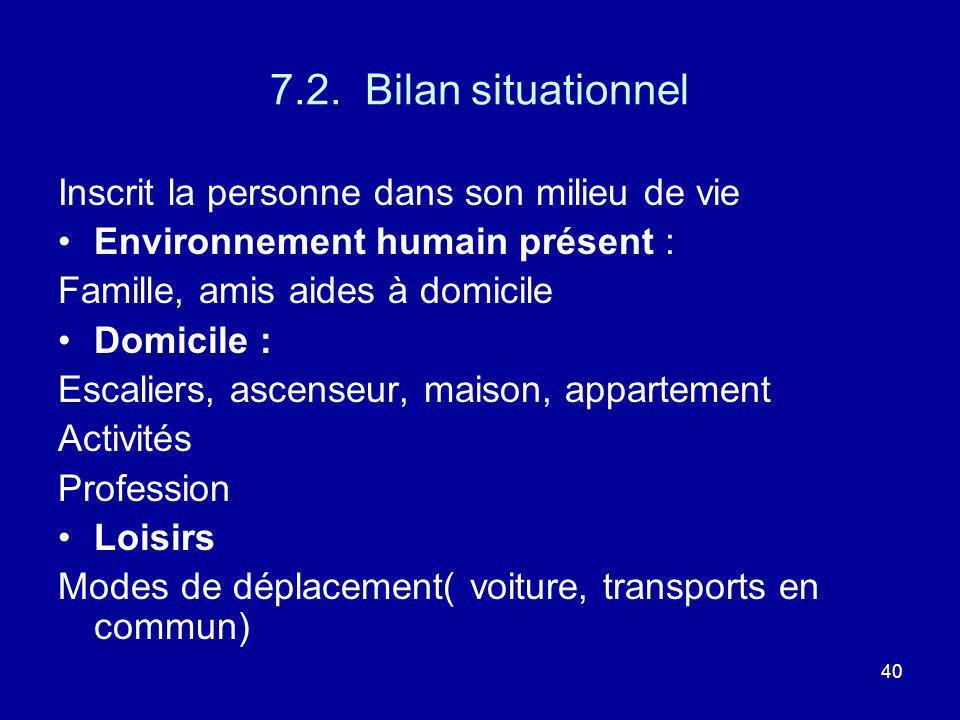 7.2. Bilan situationnel Inscrit la personne dans son milieu de vie