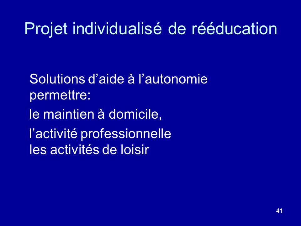 Projet individualisé de rééducation