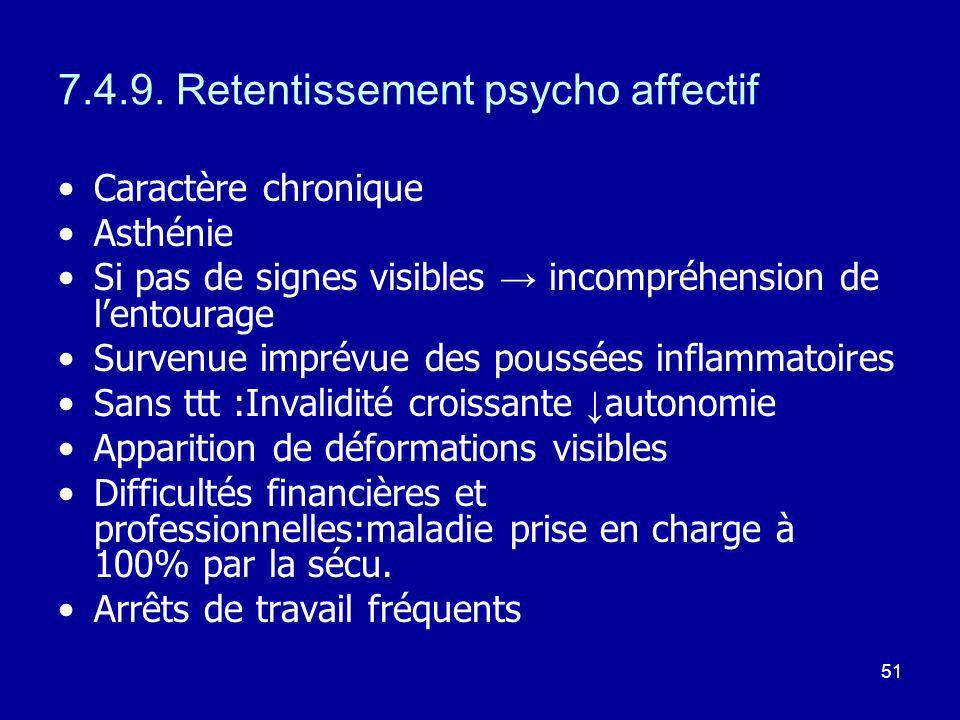 7.4.9. Retentissement psycho affectif