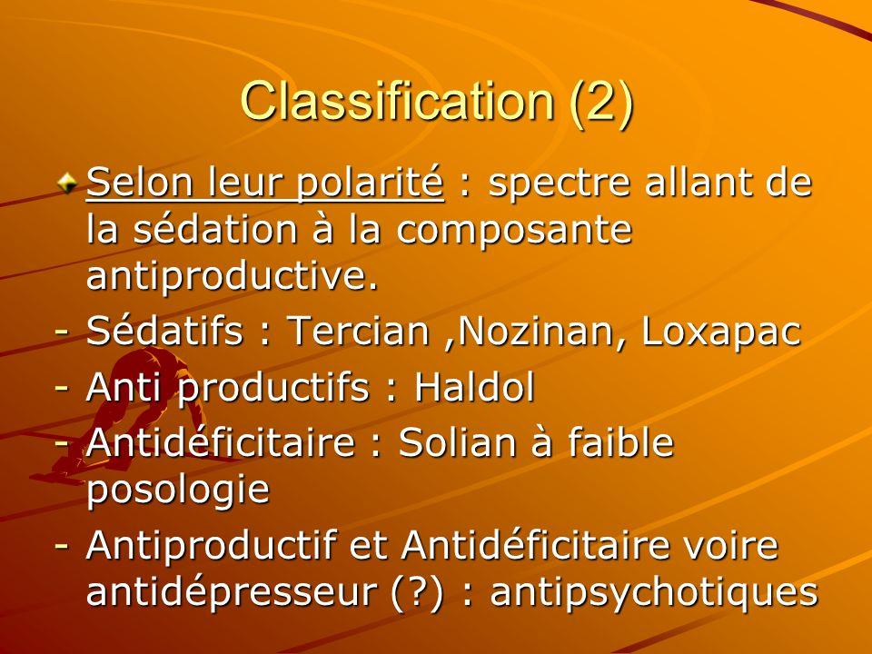 Classification (2) Selon leur polarité : spectre allant de la sédation à la composante antiproductive.