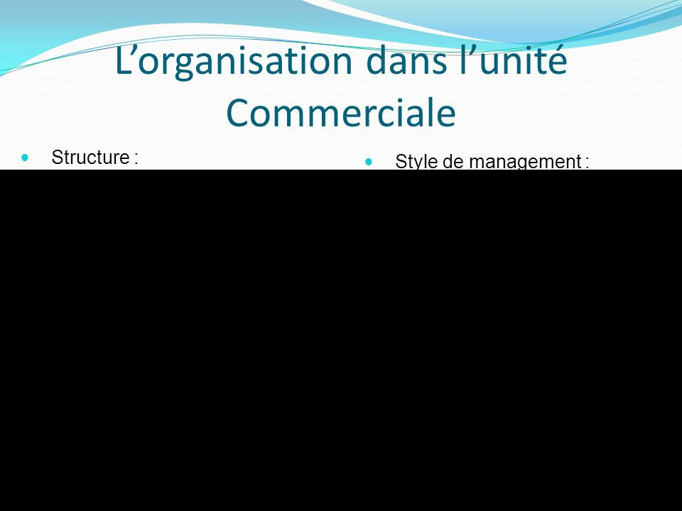 L'organisation dans l'unité Commerciale