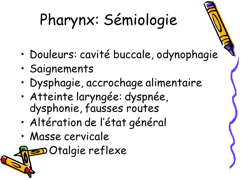 Pharynx: Sémiologie Douleurs: cavité buccale, odynophagie Saignements