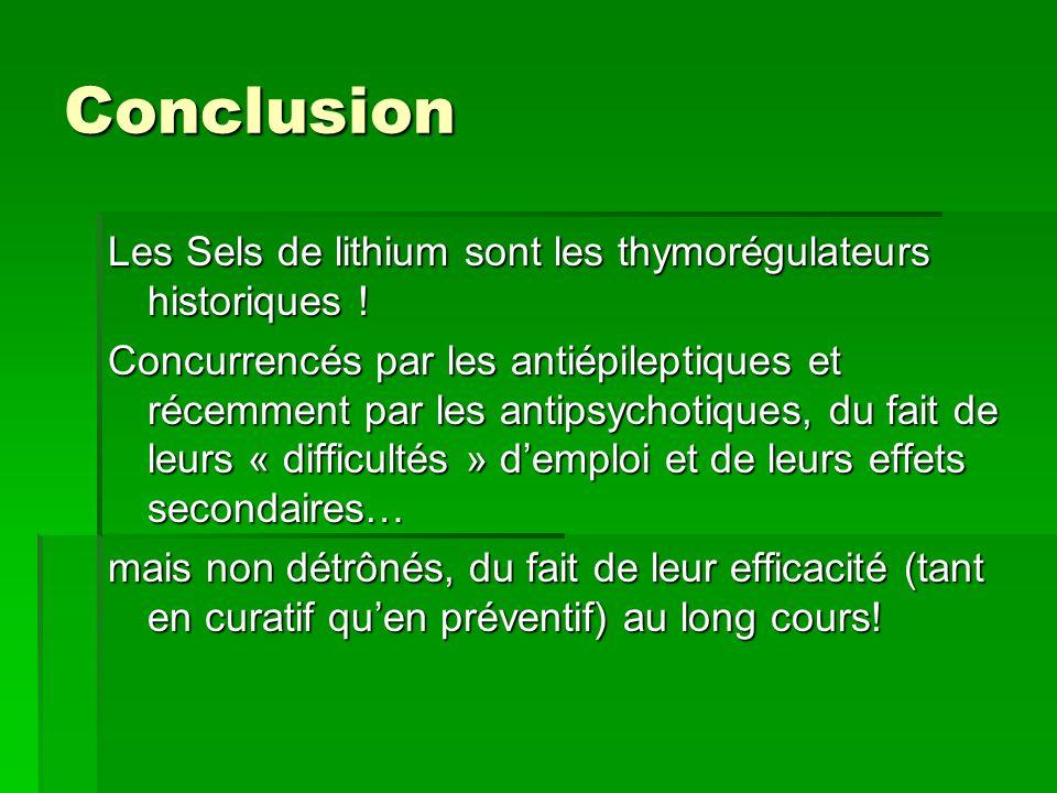 Conclusion Les Sels de lithium sont les thymorégulateurs historiques !