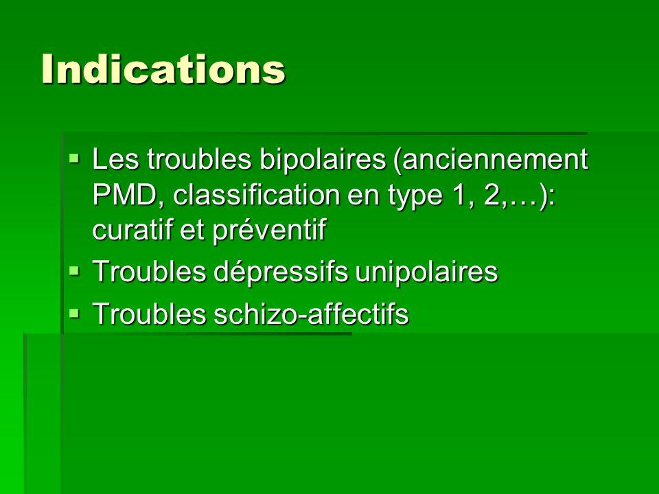 Indications Les troubles bipolaires (anciennement PMD, classification en type 1, 2,…): curatif et préventif.