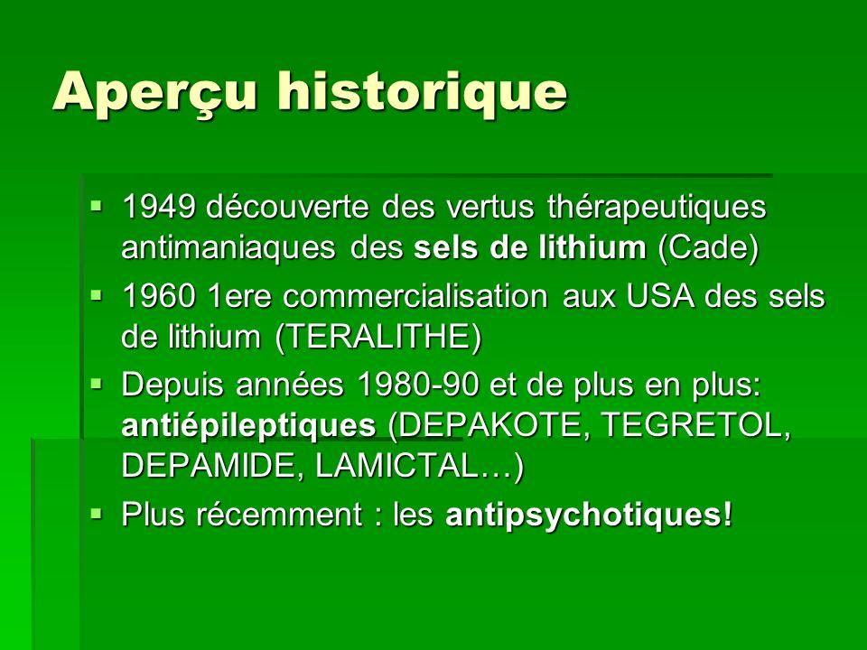 Aperçu historique 1949 découverte des vertus thérapeutiques antimaniaques des sels de lithium (Cade)