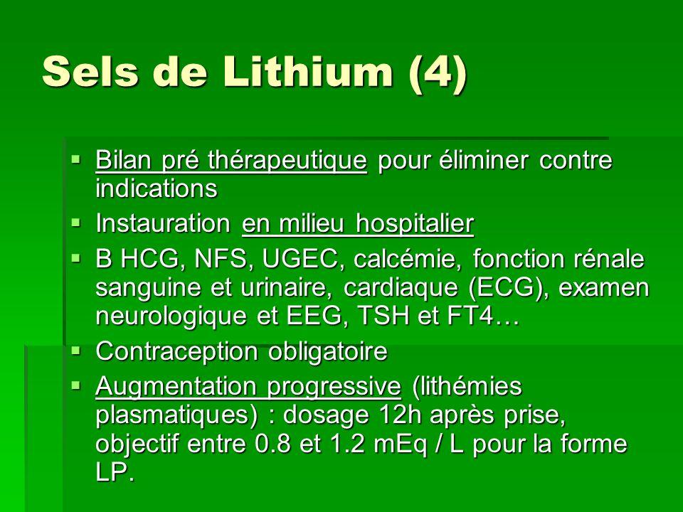Sels de Lithium (4) Bilan pré thérapeutique pour éliminer contre indications. Instauration en milieu hospitalier.
