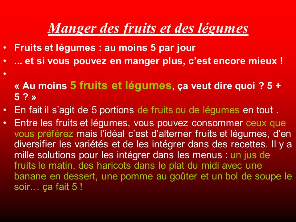 Manger des fruits et des légumes