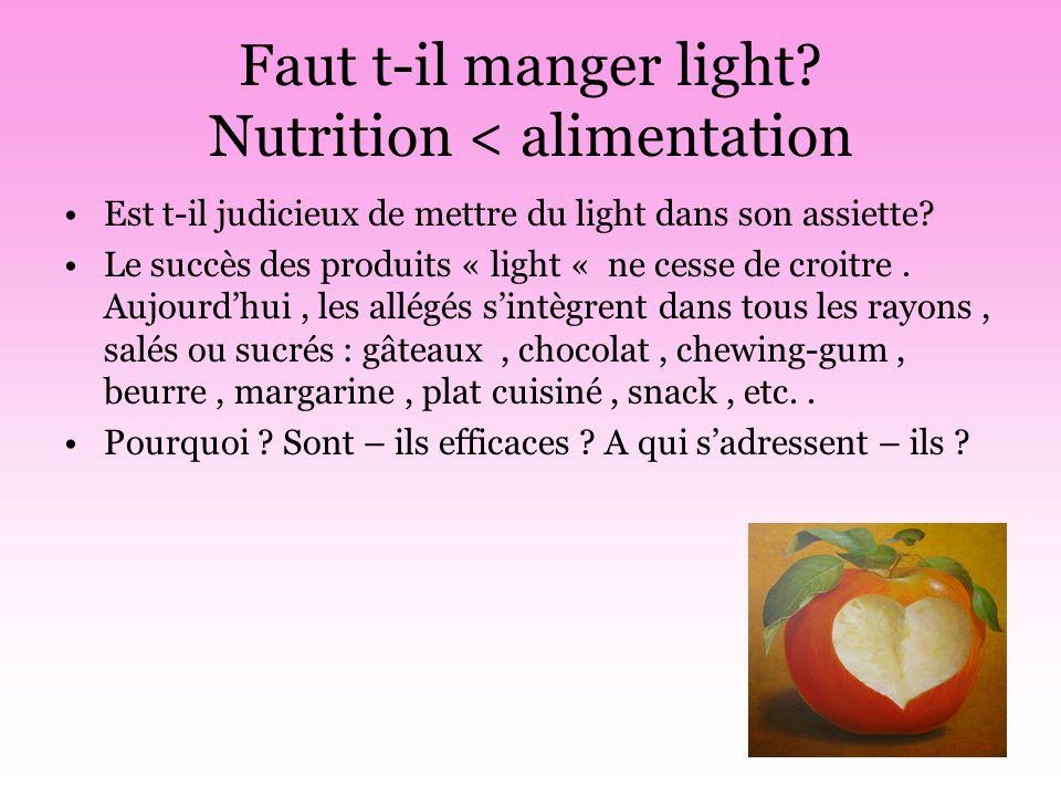 Faut t-il manger light Nutrition < alimentation