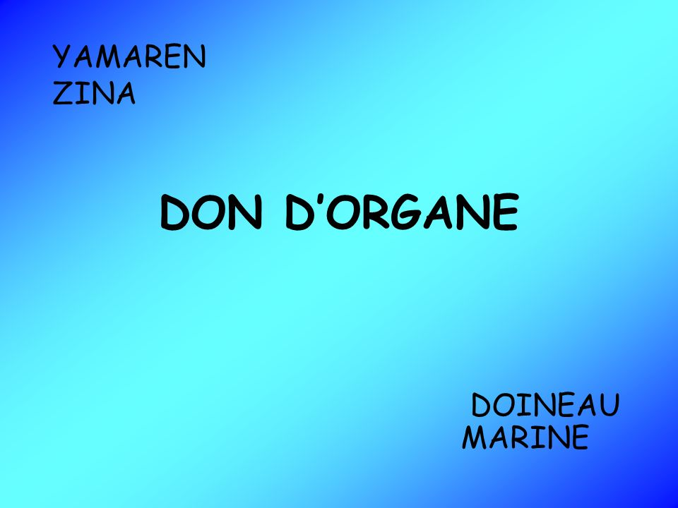 YAMAREN ZINA DON D'ORGANE DOINEAU MARINE